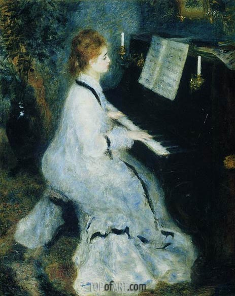 Young Woman at the Piano, 1875 | Renoir | Gemälde Reproduktion