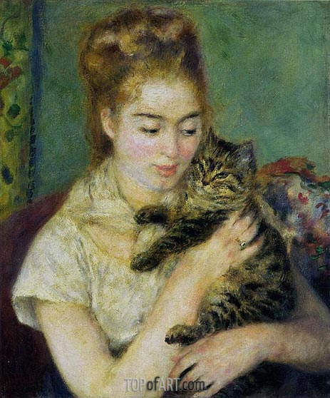 Woman with a Cat, c.1875 | Renoir | Painting Reproduction