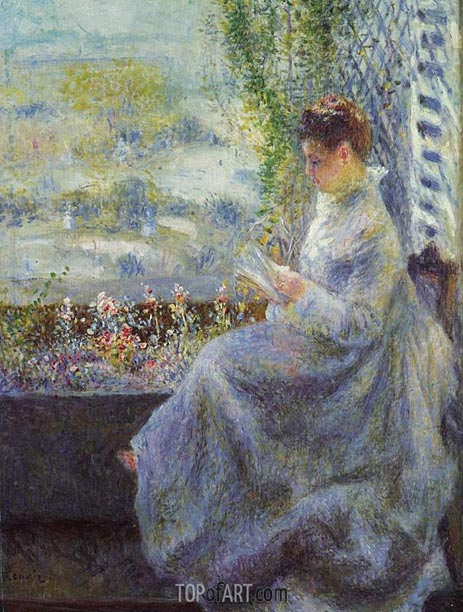 Madame Chocquet Reading, 1876 | Renoir | Gemälde Reproduktion