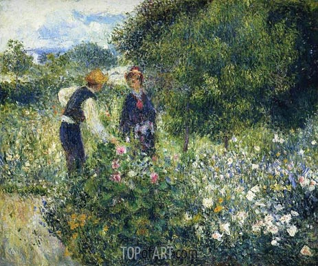Picking Flowers, 1875 | Renoir | Gemälde Reproduktion