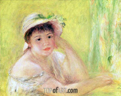 Woman with a Straw Hat (Alpphonsine Fournaise), c.1879/80 | Renoir | Painting Reproduction