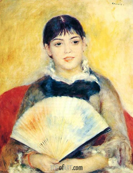 Girl with a Fan, 1881 | Renoir | Gemälde Reproduktion