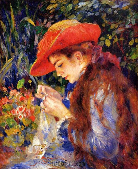 Mademoiselle Marie-Therese Durand-Ruel Sewing, 1882 | Renoir | Painting Reproduction
