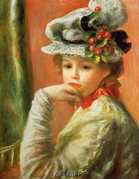 Young Girl in a White Hat, 1891 | Renoir | Painting Reproduction