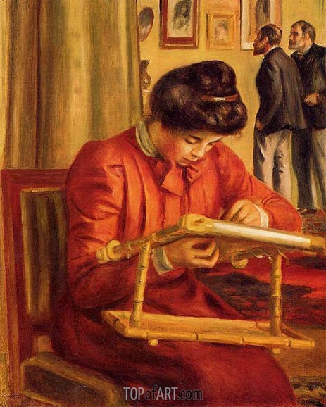 Christine Lerolle Embroidering, 1897 | Renoir | Painting Reproduction