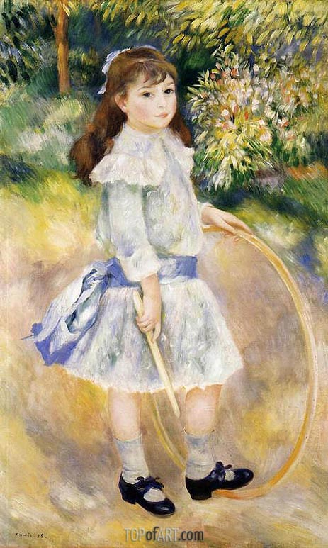 Girl with a Hoop, 1885 | Renoir | Gemälde Reproduktion