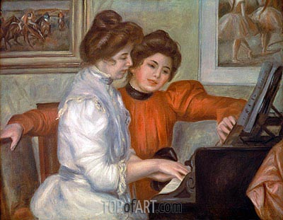 Yvonne and Christine Lerolle at the Piano, 1897 | Renoir | Painting Reproduction