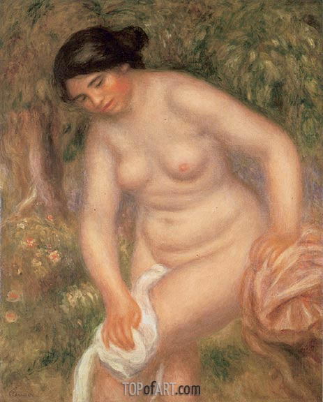 Bather Drying Herself, 1895 | Renoir | Gemälde Reproduktion