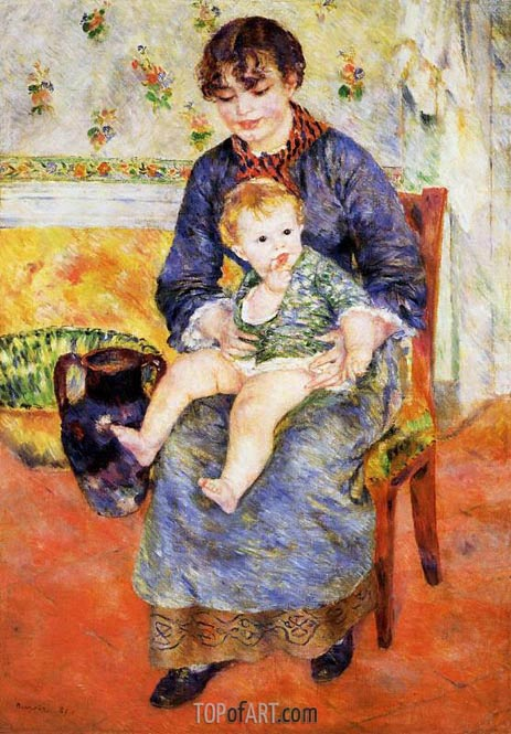 Mother and Child, 1881 | Renoir | Gemälde Reproduktion