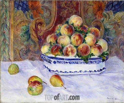 Still Life with Peaches, 1881 | Renoir | Painting Reproduction
