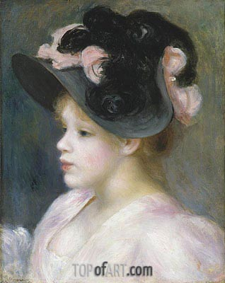 Young Girl in a Pink and Black Hat, c.1890 | Renoir | Gemälde Reproduktion