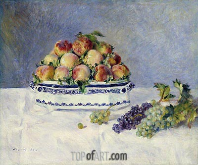 Still Life with Peaches and Grapes, 1881 | Renoir | Gemälde Reproduktion