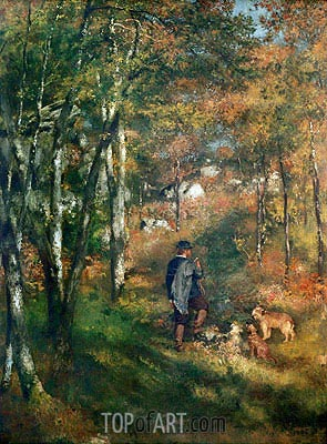 The Painter Lecoeur in the Woods of Fontainebleau, 1866 | Renoir | Gemälde Reproduktion
