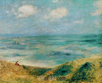Seascape. Woman at the Seaside, c.1879/80 | Renoir | Gemälde Reproduktion