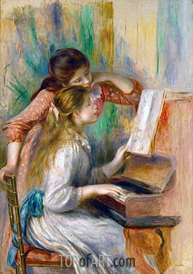 Young Girls at the Piano, c.1890 | Renoir | Painting Reproduction