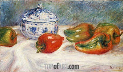 Still Life with a Blue Sugar Bowl and Peppers, c.1905 | Renoir | Gemälde Reproduktion