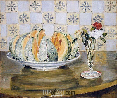 Still Life of a Melon and a Vase of Flowers, c.1872 | Renoir | Painting Reproduction