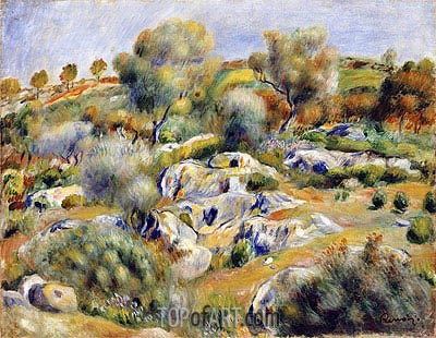 Brittany Landscape with Trees and Rocks, undated | Renoir | Painting Reproduction