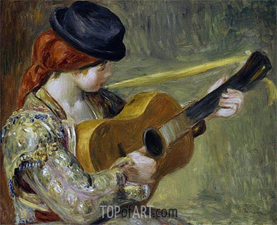 Girl with a Guitar, 1897 | Renoir | Painting Reproduction