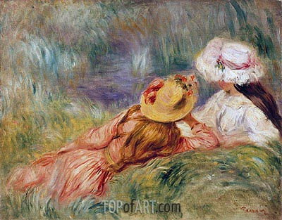 Young Girls on the River Bank, c.1893   Renoir   Painting Reproduction
