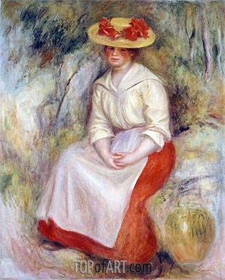 Gabrielle in a Straw Hat, 1900 | Renoir | Painting Reproduction
