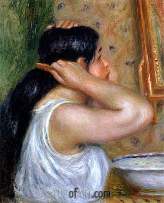 Girl Combing her Hair, c.1907/08 | Renoir | Painting Reproduction