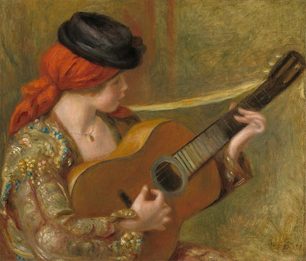 Young Spanish Woman with a Guitar, 1898 | Renoir | Painting Reproduction