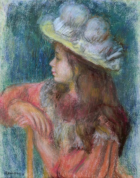 Seated Young Girl in a White Hat, 1884 | Renoir | Painting Reproduction