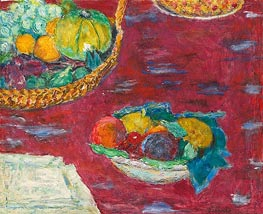 A Dish and a Basket of Fruit, 1944 von Pierre Bonnard | Gemälde-Reproduktion