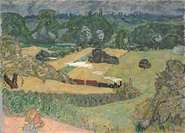 Train and Bardes (Landscape with a Goods Train), 1909 by Pierre Bonnard | Painting Reproduction