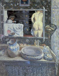 The Bathroom Mirror, 1908 von Pierre Bonnard | Gemälde-Reproduktion