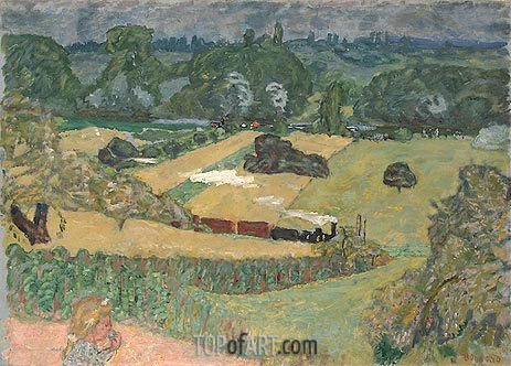Train and Bardes (Landscape with a Goods Train), 1909 | Pierre Bonnard | Gemälde Reproduktion