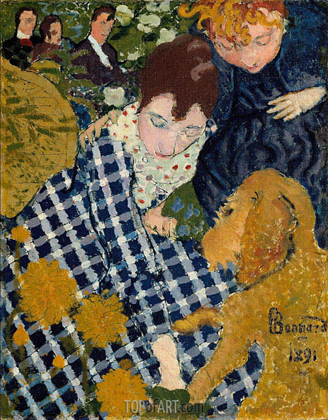 Women with Dog, 1891 | Pierre Bonnard | Painting Reproduction