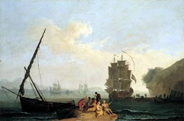 A Mediterranean Bay with a Merchantman Unloading, Seamen Playing Cards in the Foreground and a Port Beyond | Pierre Jacques Volaire | Gemälde Reproduktion