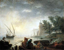 A Mediterranean Port by Moonlight with Fishermen Pulling in their Nets | Pierre Jacques Volaire | Gemälde Reproduktion