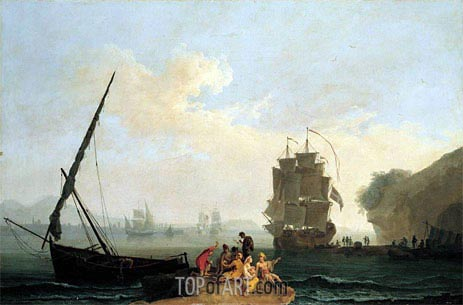 A Mediterranean Bay with a Merchantman Unloading, Seamen Playing Cards in the Foreground and a Port Beyond, c.1755/64 | Pierre Jacques Volaire | Painting Reproduction