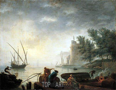 A Mediterranean Port by Moonlight with Fishermen Pulling in their Nets, c.1755/64 | Pierre Jacques Volaire | Painting Reproduction