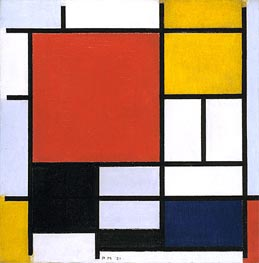 Composition with Large Red Plane, Yellow, Black, Gray and Blue | Mondrian | Painting Reproduction