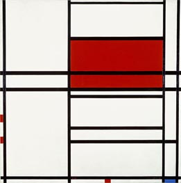 Composition of Red and White (Composition No. 4 with Red and Blue) | Mondrian | Painting Reproduction