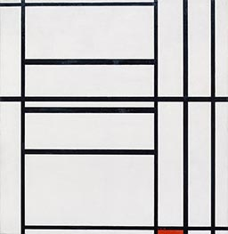 Composition No 1 with Grey and Red, 1938 by Mondrian | Painting Reproduction