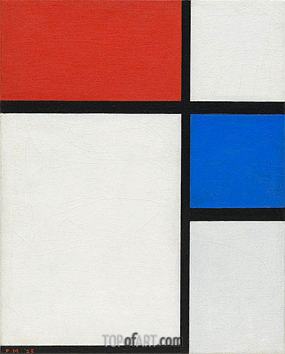Composition No. II, with Red and Blue, 1929 | Mondrian | Painting Reproduction