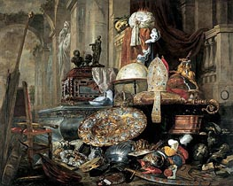Large Vanitas Still-Life (Allegory of the Vanities of the World), 1663 by Pieter Boel | Painting Reproduction