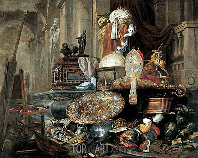 Large Vanitas Still-Life (Allegory of the Vanities of the World), 1663 | Pieter Boel | Painting Reproduction