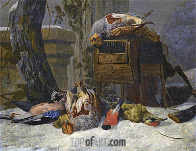 Still Life with Dead Game and Songbirds in the Snow, Undated | Pieter Boel | Painting Reproduction