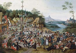 St George Kermis with the Dance Around the Maypole, Undated von Pieter Bruegel the Younger | Gemälde-Reproduktion