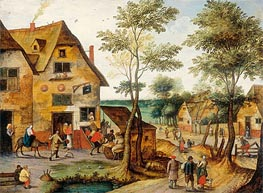 Landscape with the Holy Family Arriving at the Inn, Undated von Pieter Bruegel the Younger | Gemälde-Reproduktion