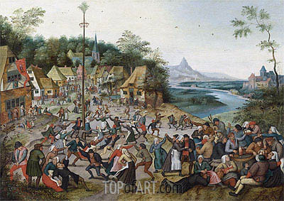 St George Kermis with the Dance Around the Maypole, Undated | Pieter Bruegel the Younger | Painting Reproduction
