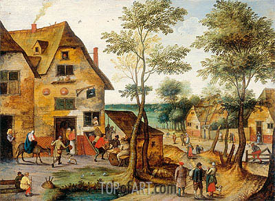 Landscape with the Holy Family Arriving at the Inn, Undated | Pieter Bruegel the Younger | Gemälde Reproduktion