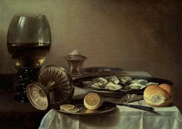 Still Life with Wine Goblet and Oysters, c.1635 by Pieter Claesz | Painting Reproduction