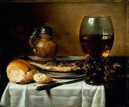 Still Life with Stoneware Jug, Wine Glass, Herring, and Bread, 1642 by Pieter Claesz | Painting Reproduction